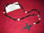 Black Agate and Purple Amethyst Sage Rosary with Hematite Cross